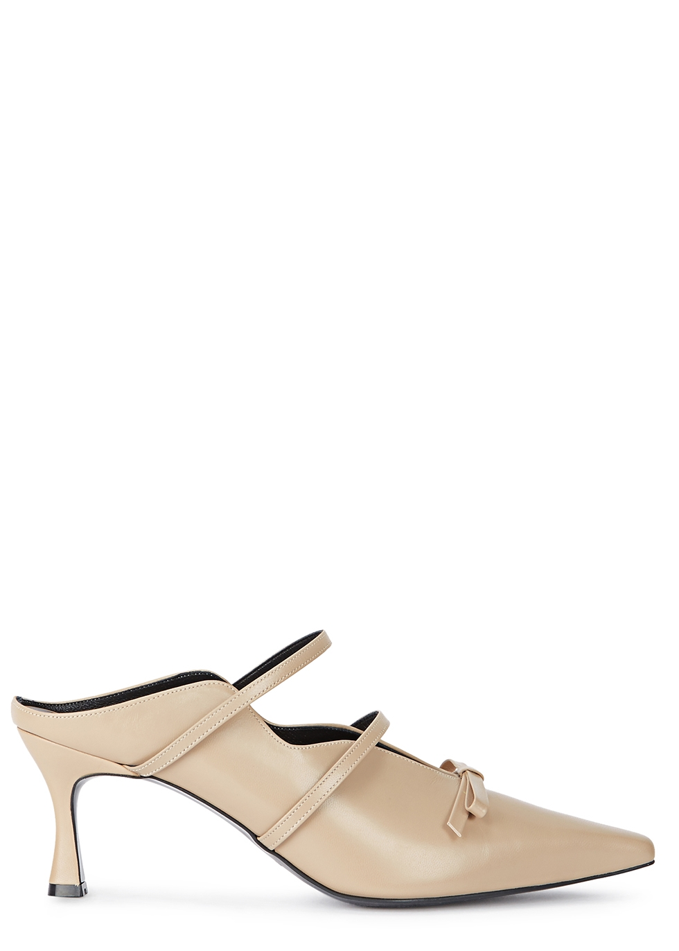 Judith Stone Leather Mules in Beige