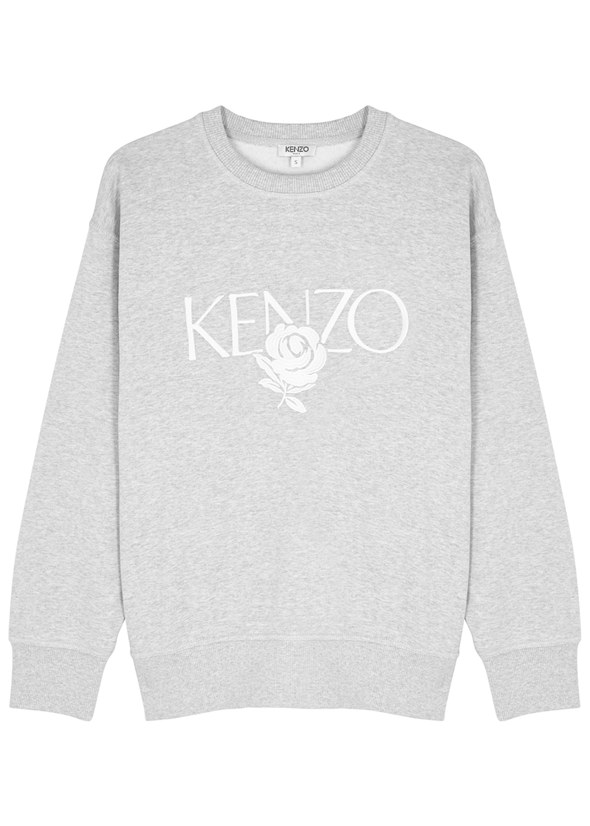 598f2be6621a Grey logo-embroidered cotton sweatshirt ...
