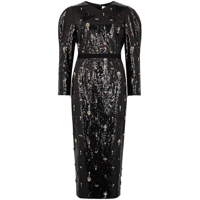 Erdem EMMY BLACK EMBELLISHED SEQUIN DRESS