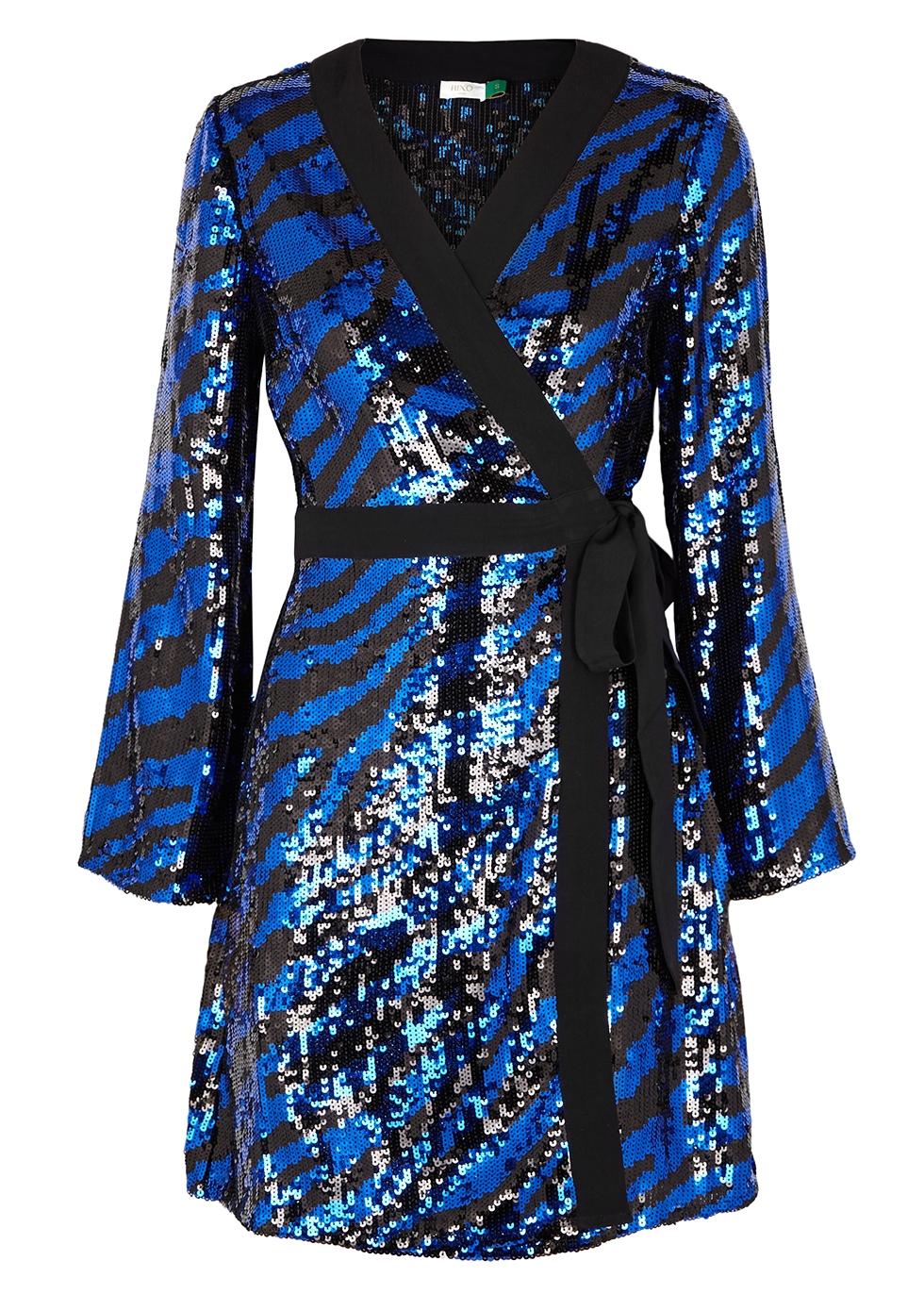 Maria Tiger Sequin Wrap Dress
