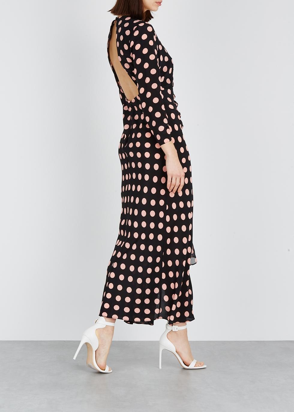 Rose polka-dot silk maxi dress - RIXO