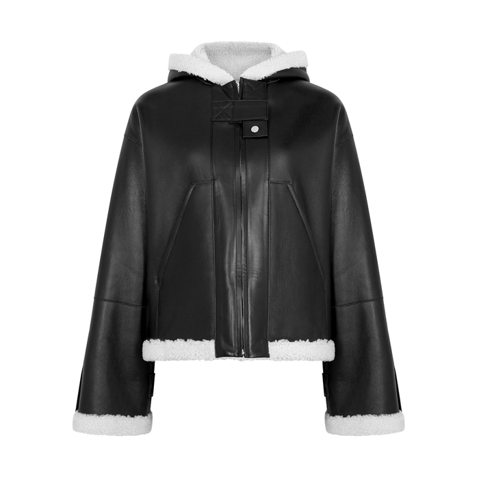 Rosetta Getty Jackets BLACK HOODED SHEARLING JACKET
