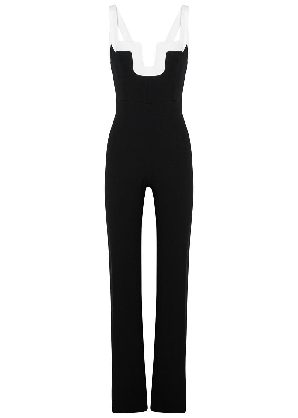 Arabesque Monochrome Straight-Leg Jumpsuit in Black And White