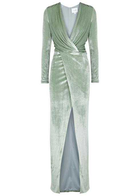 926515e118b Galvan Vera mint velvet gown - Harvey Nichols