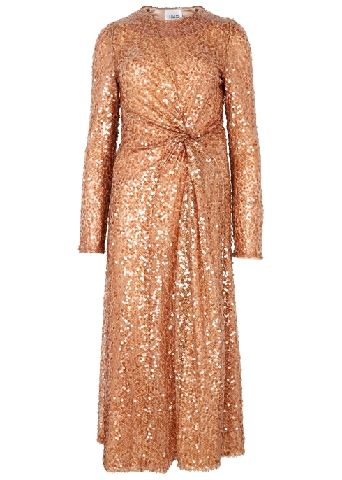 09e447c8bea Galvan Pinwheel mocha sequin midi dress - Harvey Nichols
