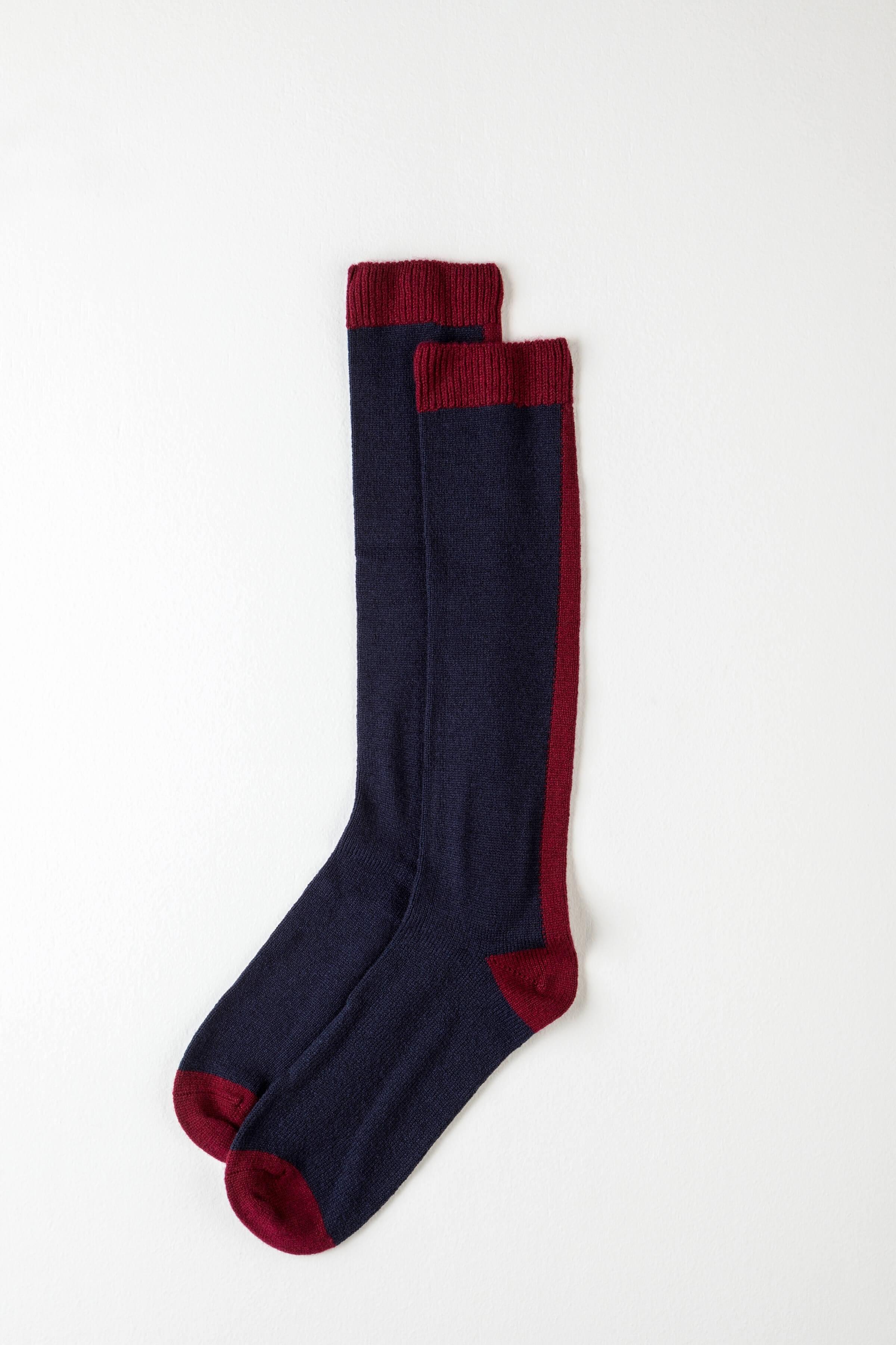JOHNSTONS OF ELGIN Johnstons Of Elgin Navy Long Colour Block Womens Cashmere Socks