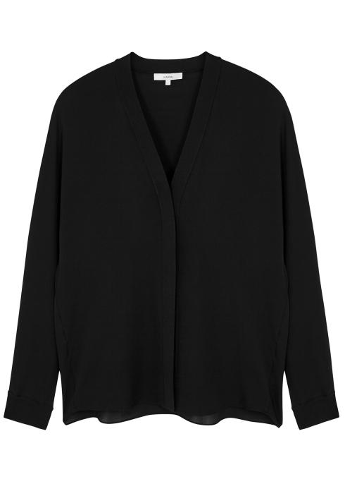 d6ab16079f4fc Vince Black silk blouse - Harvey Nichols