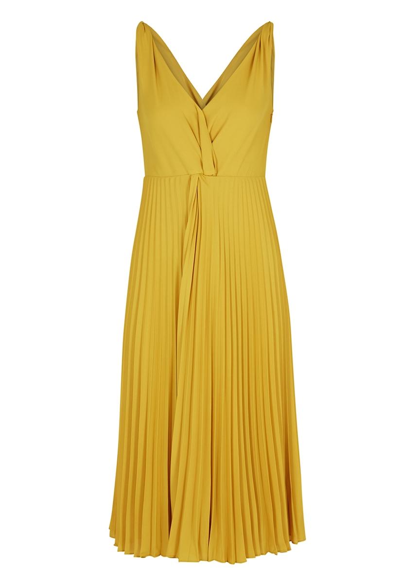00a1168823d9c7 Yellow pleated midi dress Yellow pleated midi dress. Vince