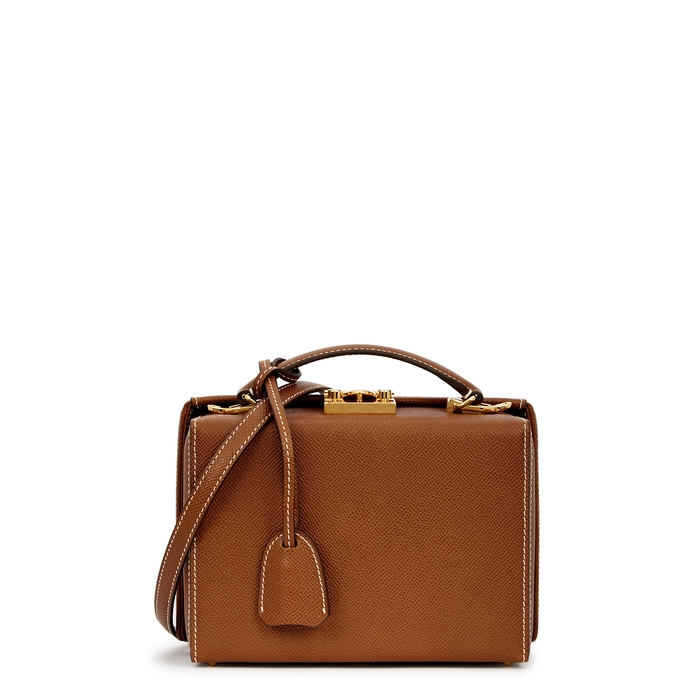 Mark Cross GRACE SMALL BROWN LEATHER BOX BAG