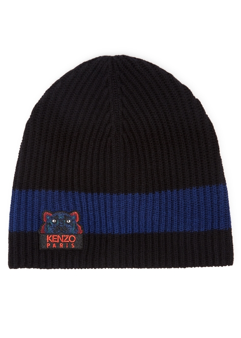 KENZO Black tiger-embroidered wool beanie - Harvey Nichols d48089ce236