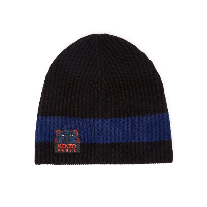 KENZO Black Tiger-embroidered Wool Beanie