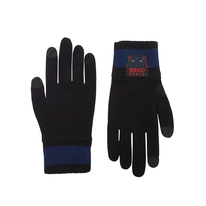 KENZO Black Tiger-embroidered Wool Gloves