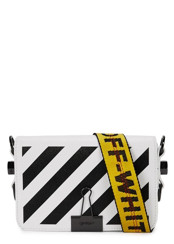 White Striped Leather Shoulder Bag