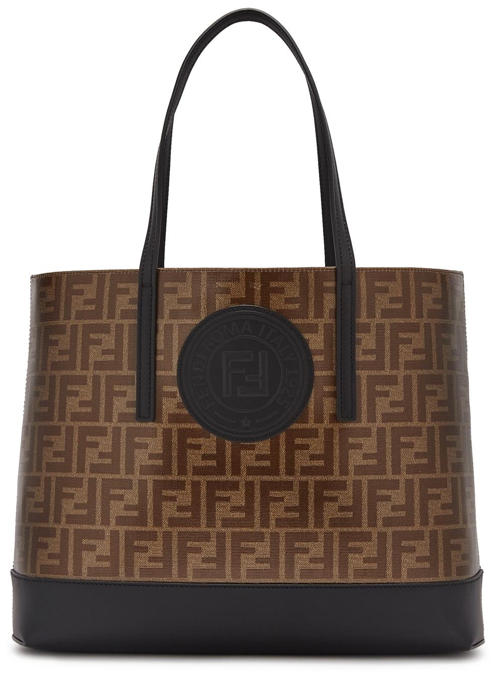 Brown monogrammed leather tote - Fendi