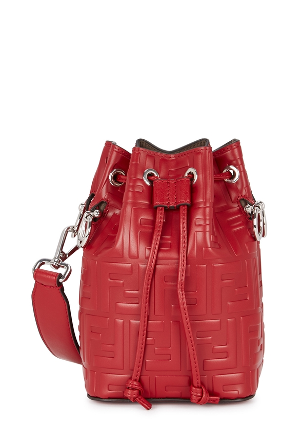 Monosori red leather bucket bag ... 8461d0524700a