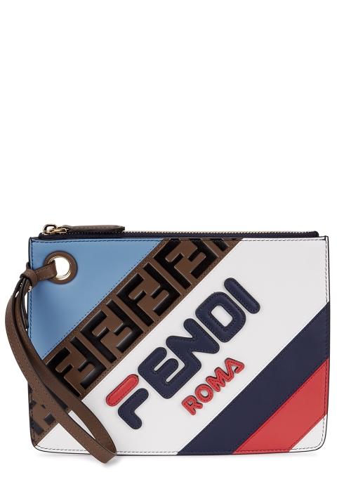 5c459fe15060 Fendi X Fila navy leather pouch - Harvey Nichols