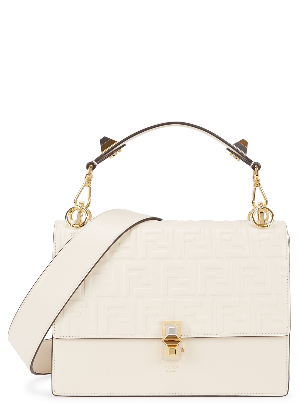 Kan I ivory leather top handle bag - Fendi