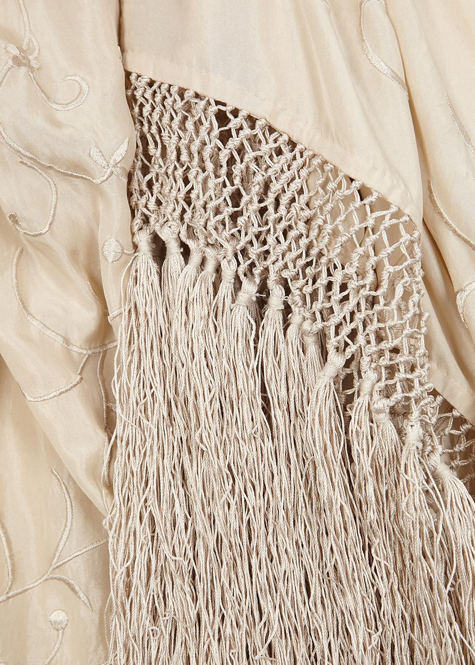 Champagne embroidered silk kimono - forte_forte