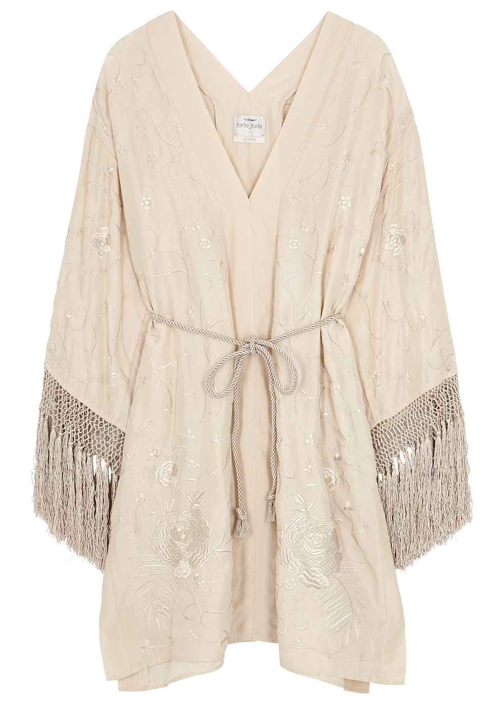 Champagne embroidered silk dress - forte_forte