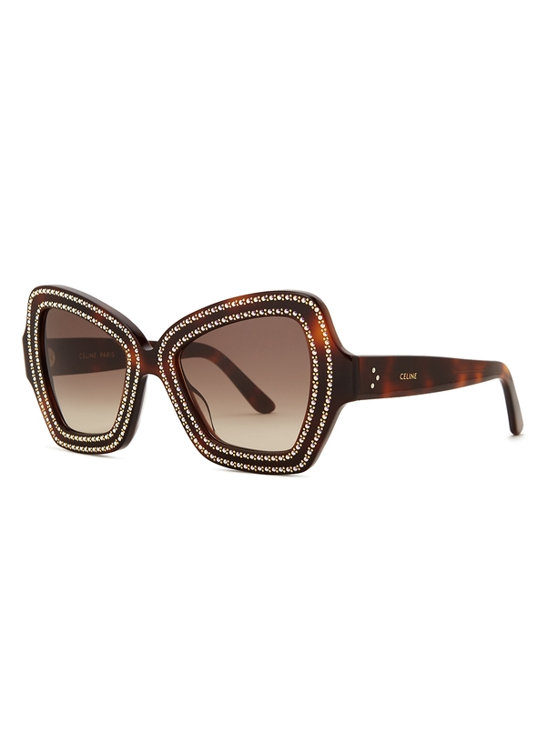 27b698f295 Crystal-embellished oversized sunglasses. Celine