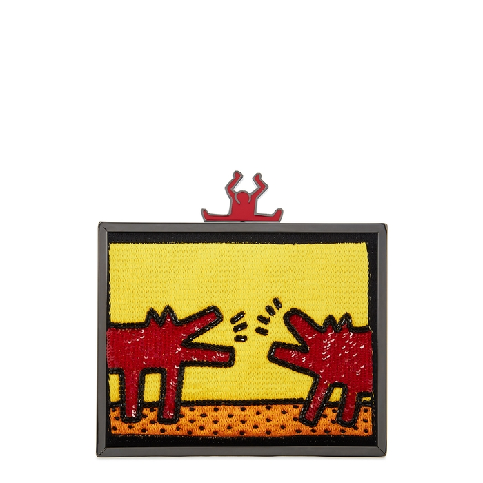 Alice And Olivia KEITH HARING X AO ABBEY EMBELLISHED CLUTCH