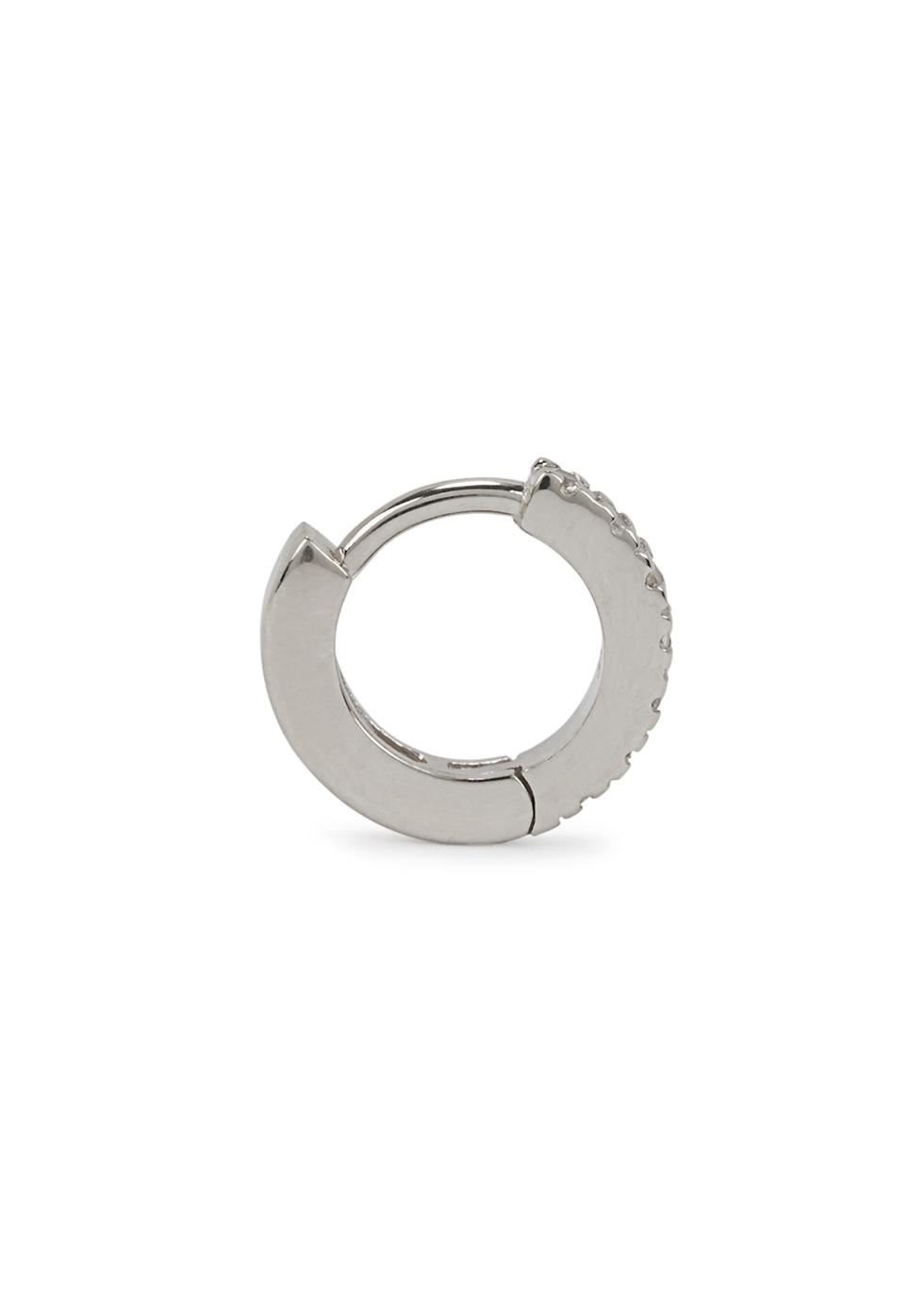 Huggie 9kt white gold hoop earring - OTIUMBERG