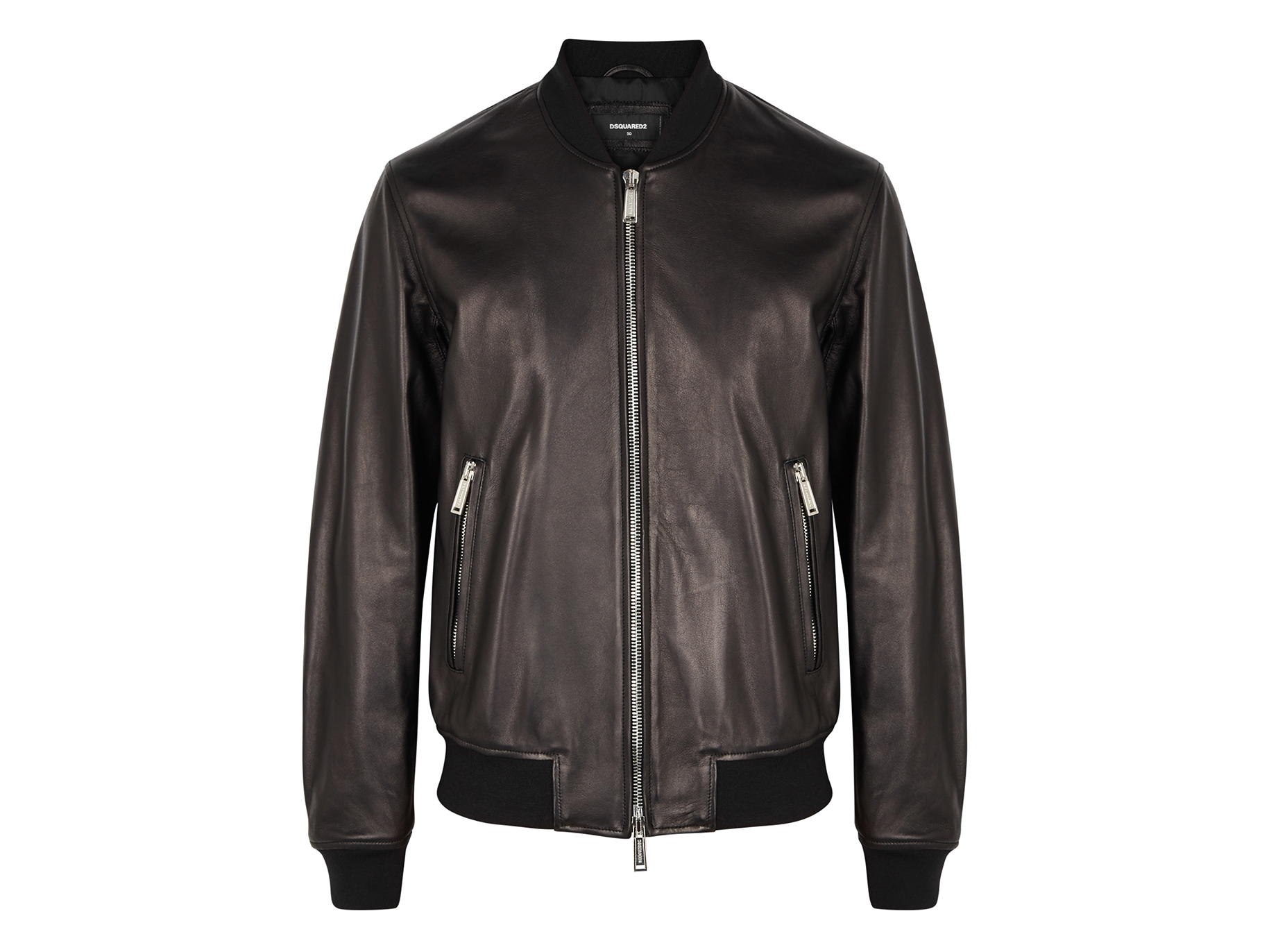 e4916362c Black leather bomber jacket