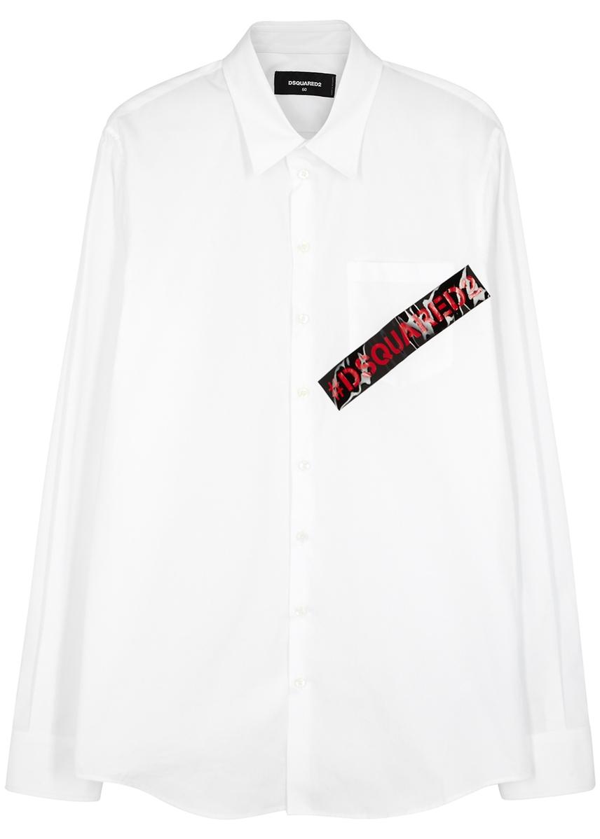 c4d0fa39aaa White logo-appliquéd poplin shirt ...