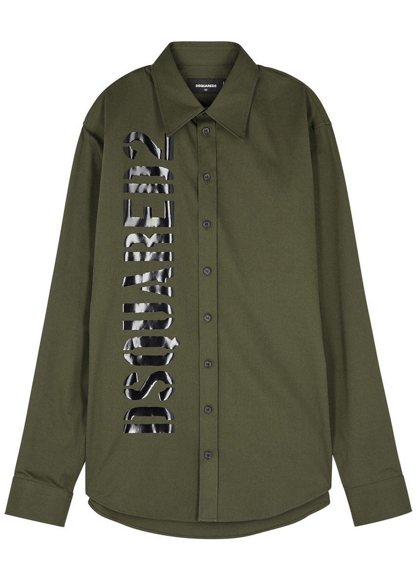 d38eb8c7b1 Olive logo-print stretch-cotton shirt ...