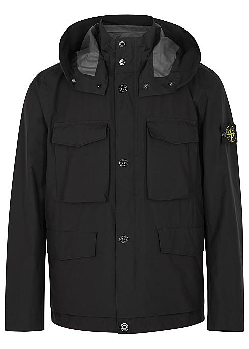 8b99f1ec Stone Island Black hooded Goretex shell jacket - Harvey Nichols