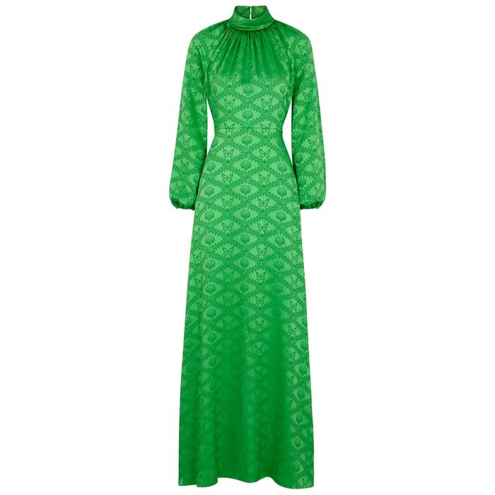 Mary Katrantzou BELLE MARE GREEN JACQUARD SATIN DRESS