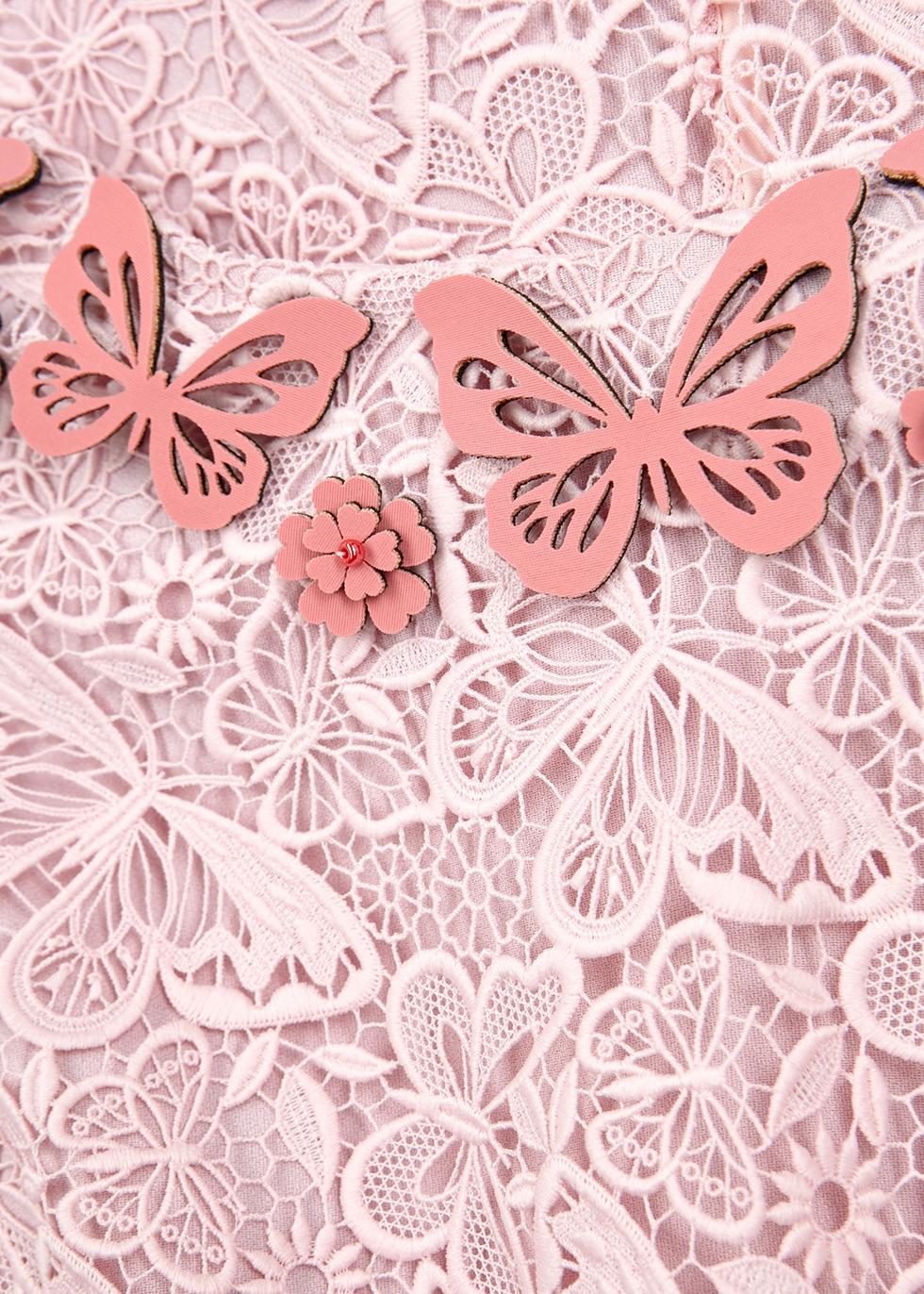 Two Pence light pink macramé midi dress - Mary Katrantzou