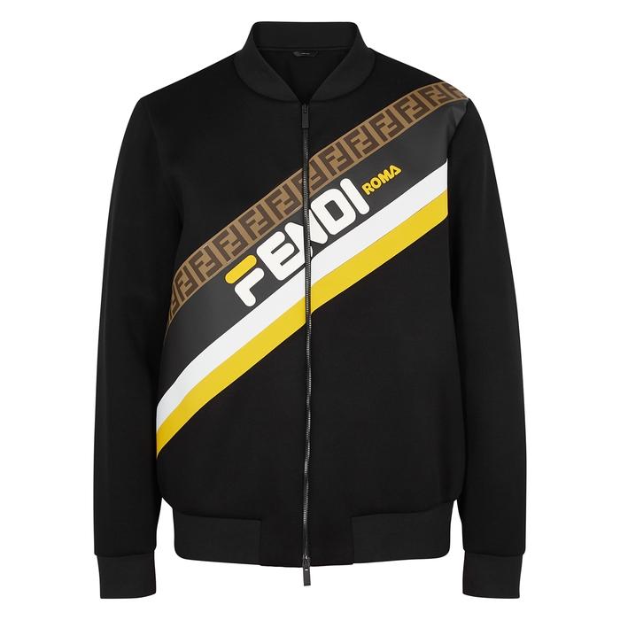 Fendi Black Logo Neoprene Bomber Jacket