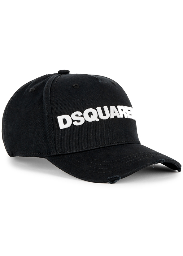 70d1daef72c Black logo embroidered cotton cap ...