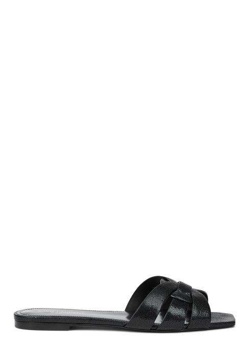 f301d3f9d Saint Laurent Tribute black grained leather sliders - Harvey Nichols