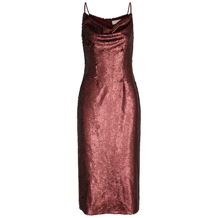 Keepsake No Signs bordeaux sequinned midi dress