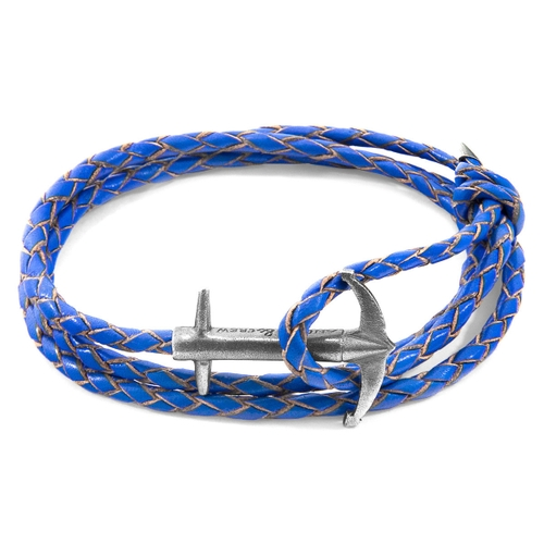 Anchor & Crew Bracelets ROYAL BLUE ADMIRAL ANCHOR SILVER AND BRAIDED LEATHER BRACELET