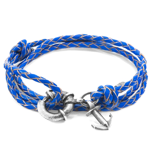 Anchor & Crew Bracelets ROYAL BLUE CLYDE ANCHOR SILVER AND BRAIDED LEATHER BRACELET