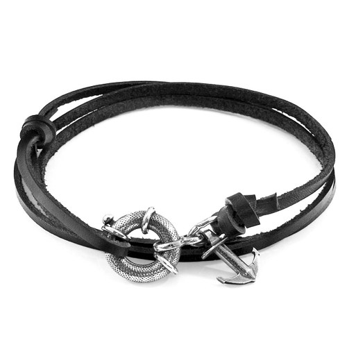 Anchor & Crew COAL BLACK CLYDE ANCHOR SILVER AND FLAT LEATHER BRACELET