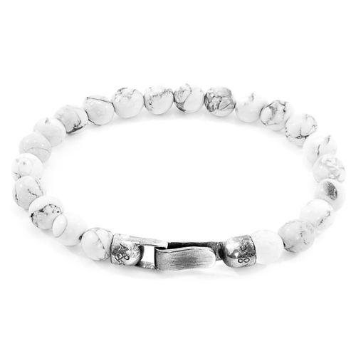 Anchor & Crew WHITE HOWLITE OUTRIGGER SILVER AND STONE BRACELET