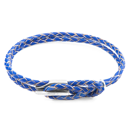 Anchor & Crew Bracelets ROYAL BLUE PADSTOW SILVER AND BRAIDED LEATHER BRACELET