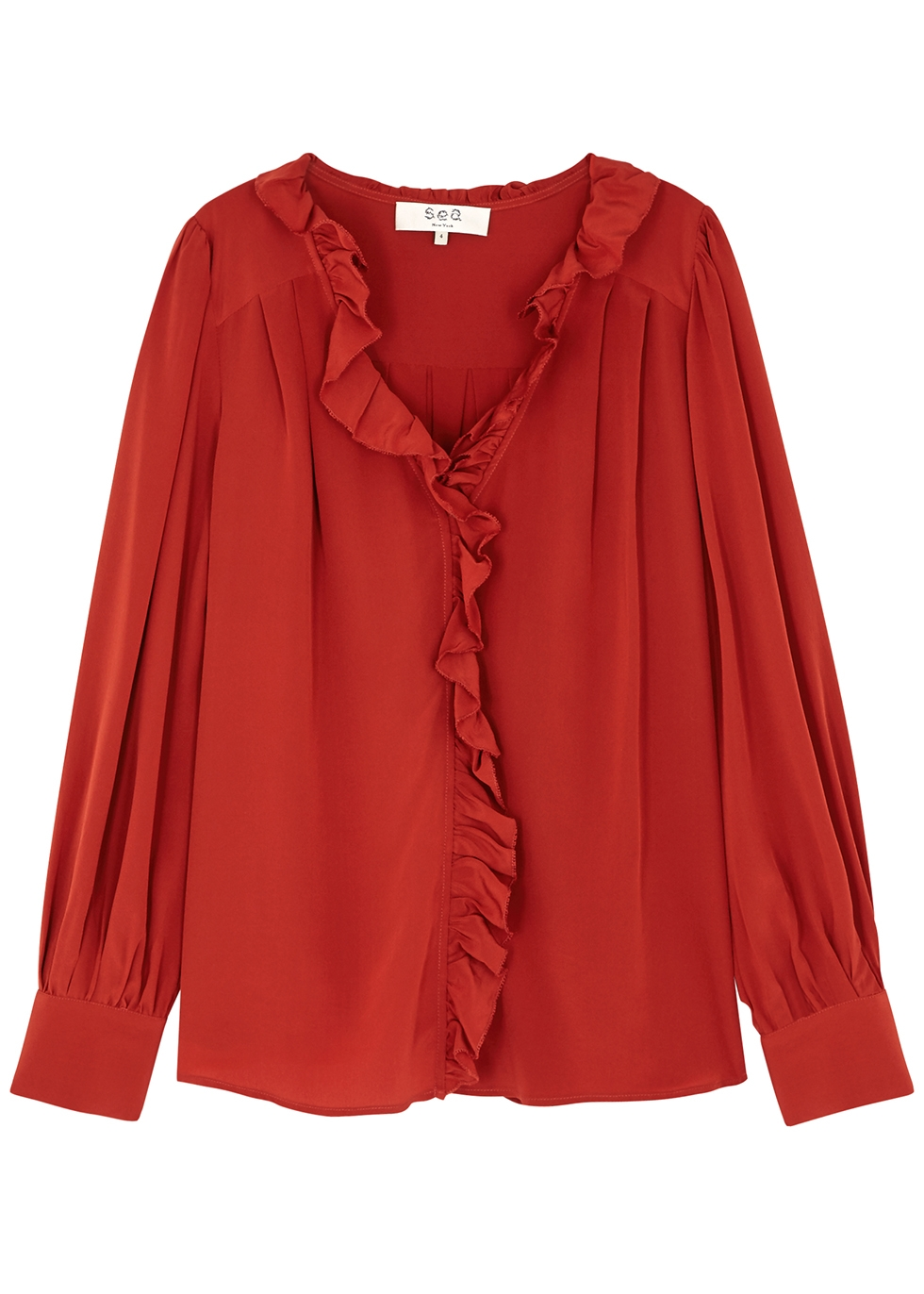 SEA NY Suki Ruffle-Trimmed Silk Blouse in Red