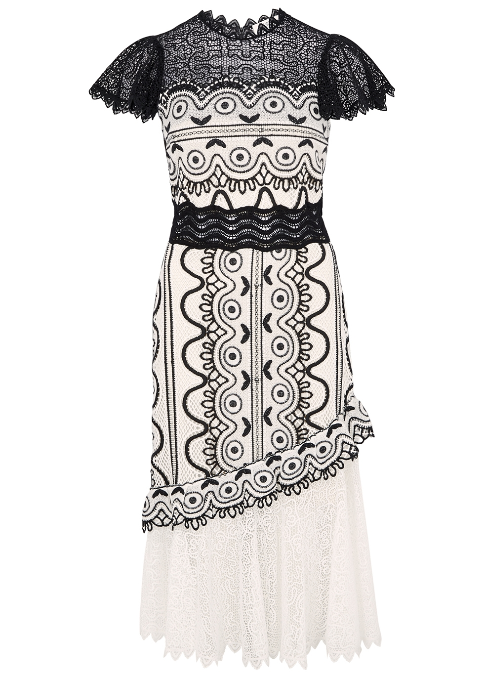 SEA NY Lola Monochrome Guipure Lace Dress in Black And White