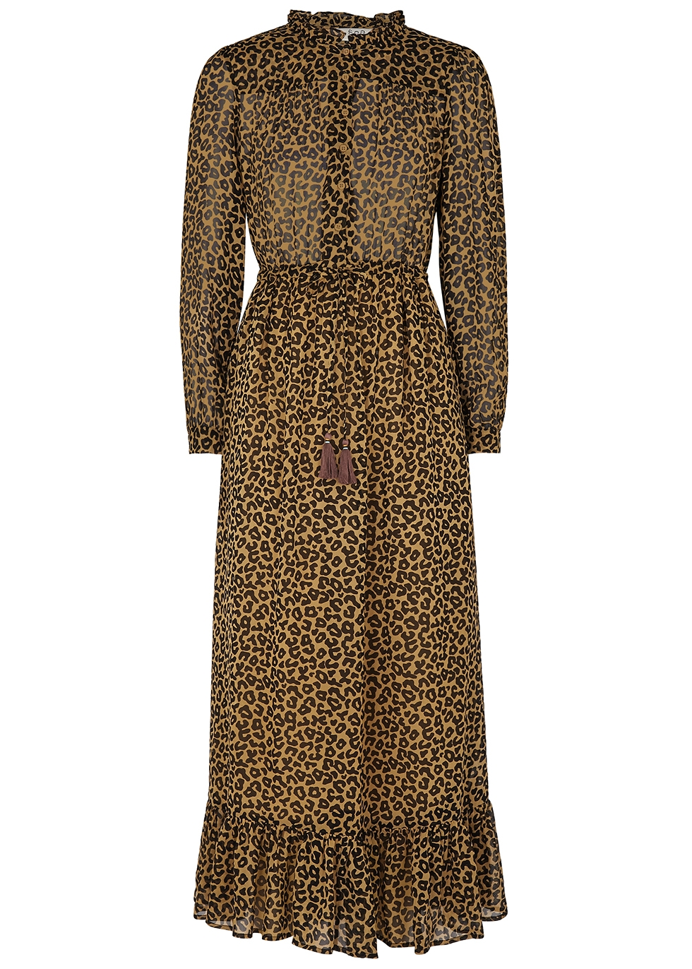 SEA NY Lottie Leopard-Print Georgette Dress