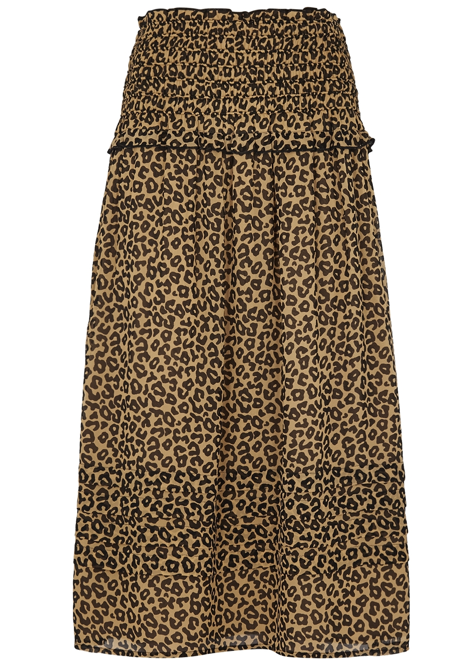 SEA NY Lottie Leopard-Print Georgette Skirt