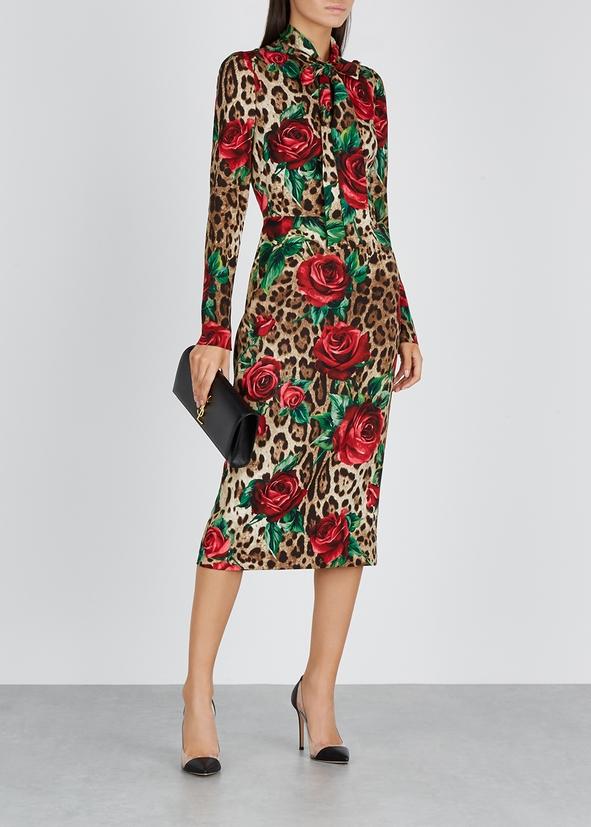 6982891036 ... Leopard-print stretch-silk midi dress. New Season. Dolce   Gabbana