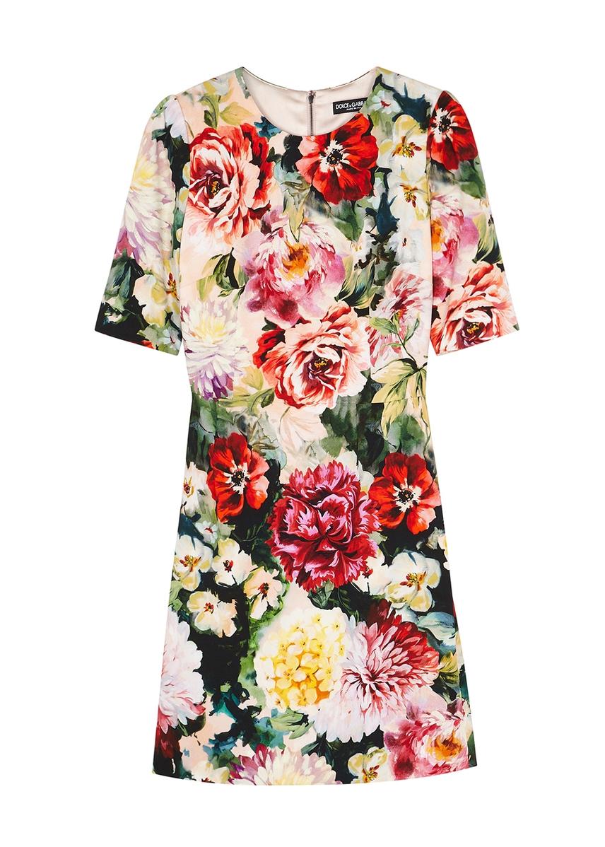 6bbf306e014a92 Floral-print stretch-cady mini dress ...
