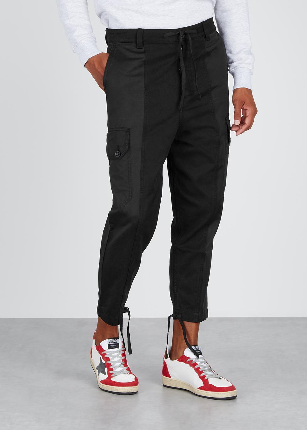 Black cotton patchwork trousers - AMI