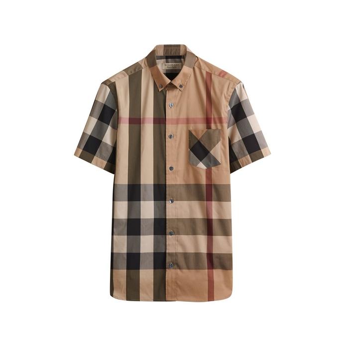 Burberry Short-Sleeve Check Stretch Cotton Blend Shirt  debe47a080
