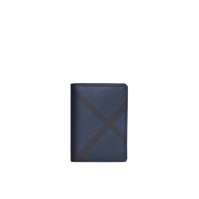 Burberry London Check And Leather Folding Card Case